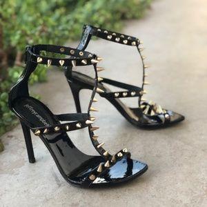 Jeffrey Campbell Black Patent Leather Spike Sandal